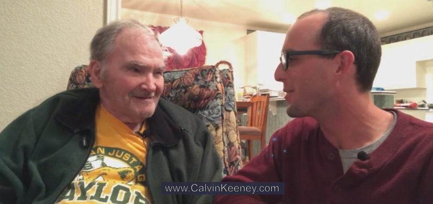 Grandfather and his son Calvin Keeney talking to each other