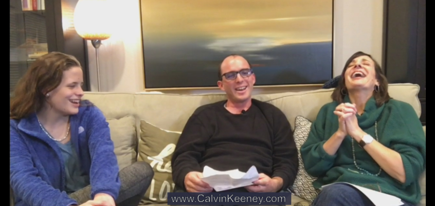 Brooke, Calvin Keeney and Cindy Austin talking to each other while sitting on a couch and laughing