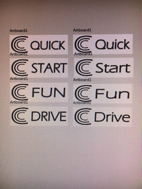 "The triple C Logo for Calvin Keeney next to the 4 words ""Quick"", ""Start"", ""Fun"" and ""Drive"""
