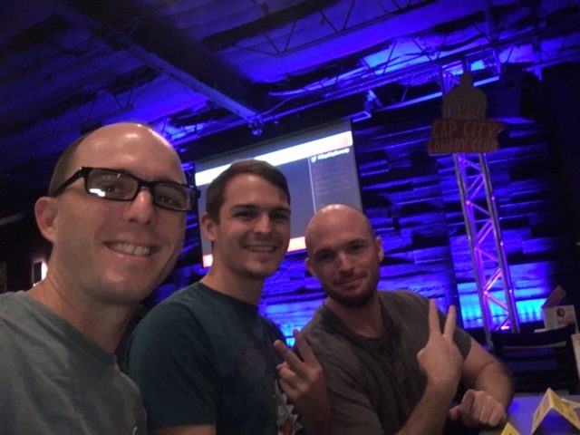 Image of Calvin Keeney with his two brothers at Cap City Comedy Club waiting to see comedian Tom Green